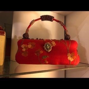 Mary Frances Chinese red evening bag